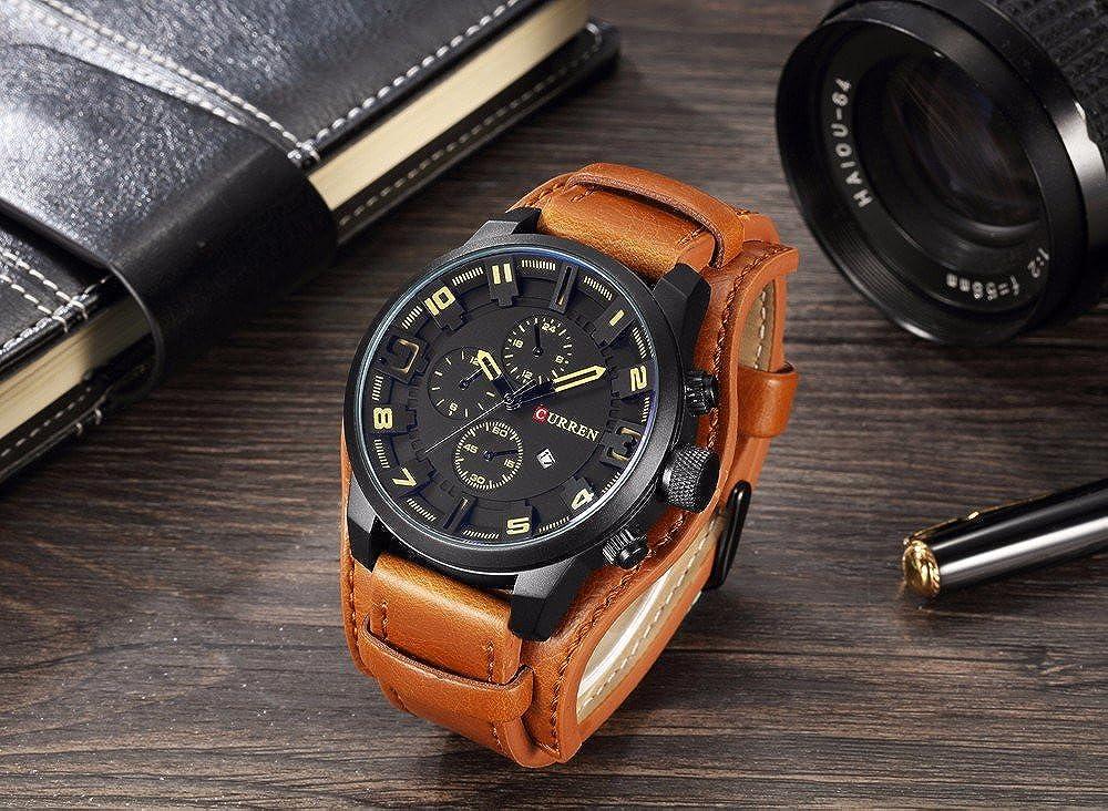 Amazon.com: CURREN 8225 (Brown Black) Original Mens Sports Waterproof Leather Strap Date Good Quality Wrist Watch: Watches