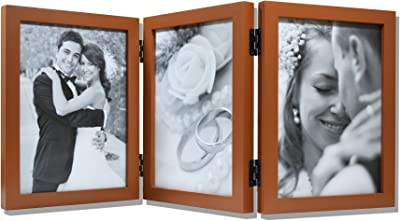 Golden State Art Wood Table Top Folding Vertical Photo Frame for Triple 5x7 Pictures with Real Glass, Coffee Walnut