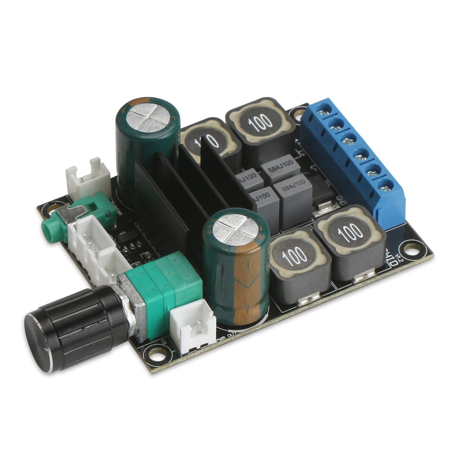 Amplifier Board, DROK TPA3116 HiFi Dual-Channel Stereo Audio Amplifier DC10-25V Digital 2.0 Amp Module 50W Output with Volume Adjustment Knob