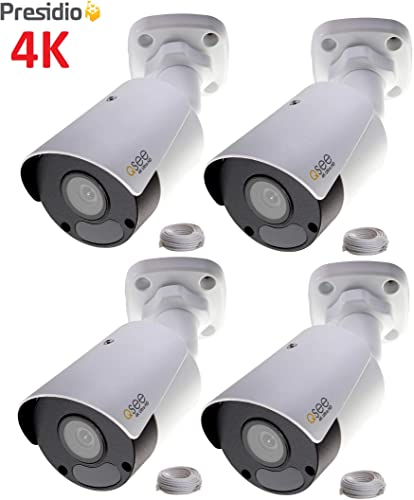 Q-See 4K 8MP Presidio Archer Bullet Camera with Color Night Vision Ultra HD IP Surveillance with H.265 and IVA, VCA 4-Pack AR4KB1.1