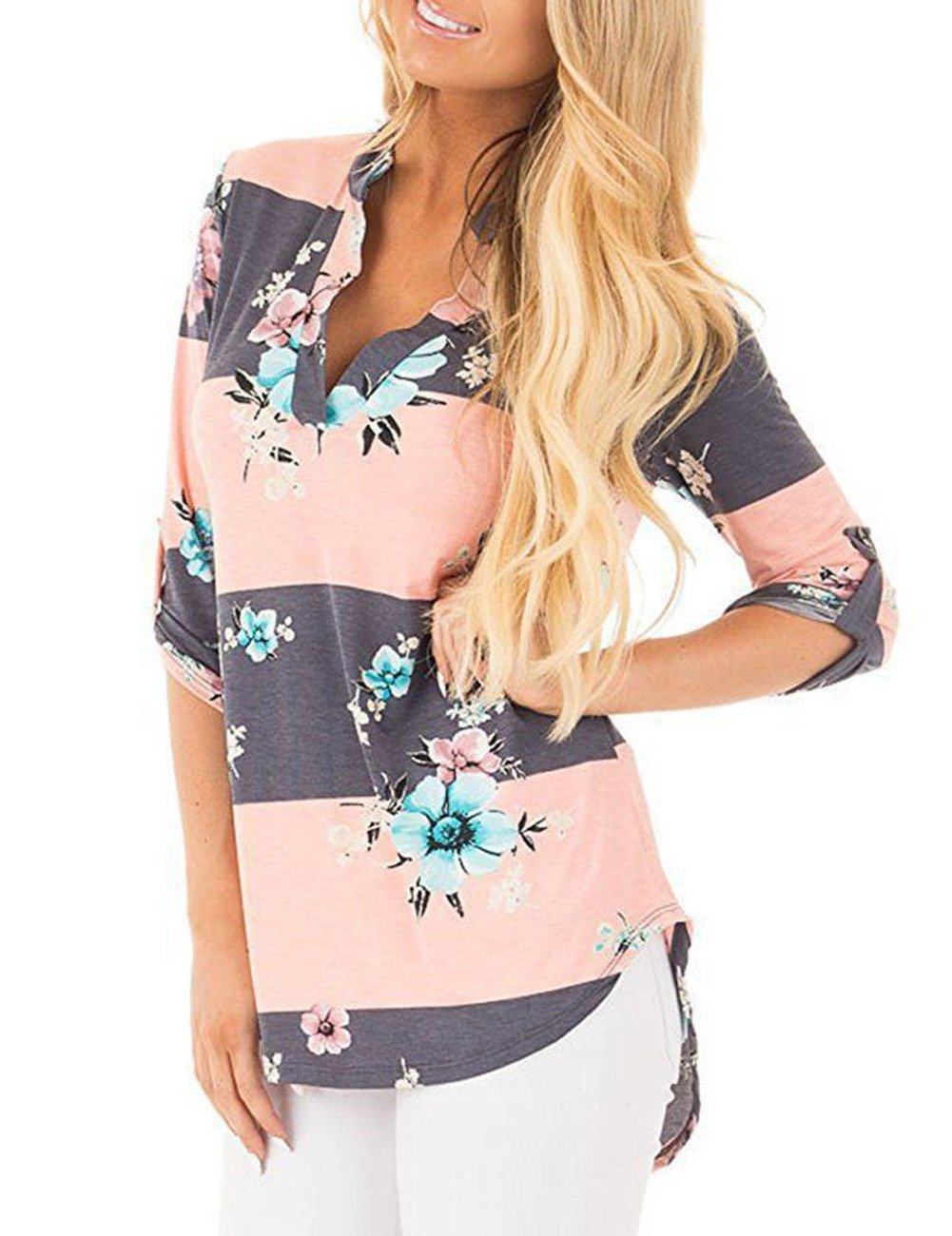 Simaier Women's Shirts V-Neck Shirt 3/4 Sleeve Tops Casual Floral Print JXX0014C