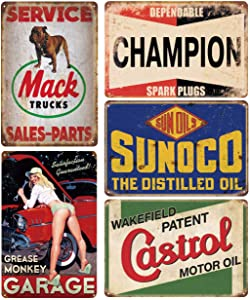 Pack of 5 pcs Retro Vintage Advert Tin Signs, Gas Oil Car Reproduction Signs for Garage Man Cave Bar, 8x12 inch/20x30cm