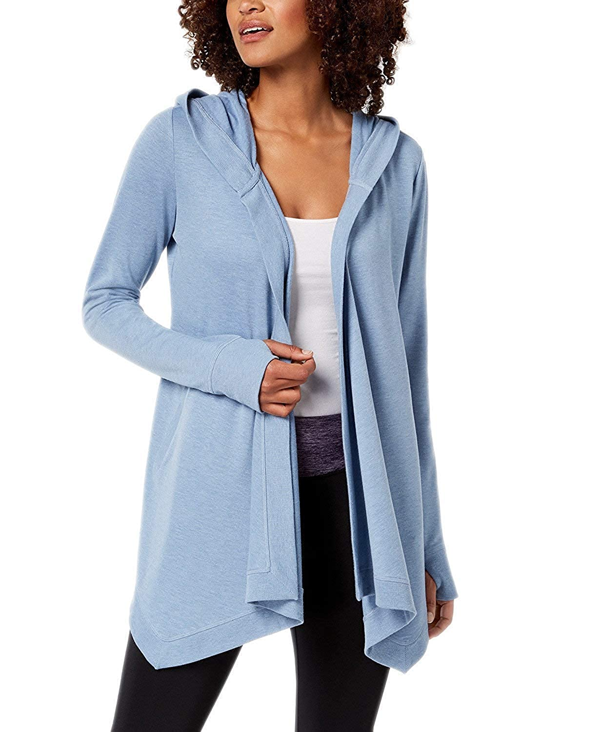 Ideology Womens Hooded Solid Color Lightweight Athletic Wrap Top