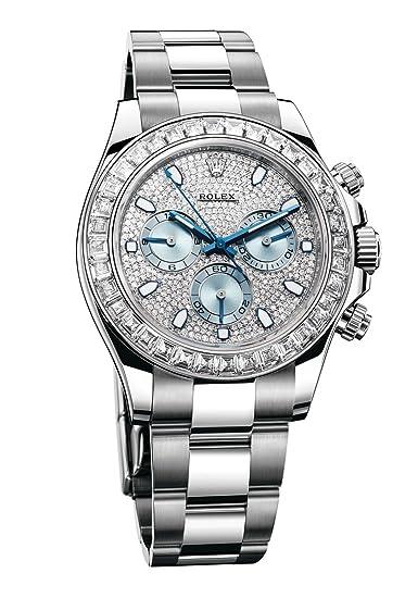 Rolex Mujer 116576 Daytona Platinum Diamond Bisel Diamante PAVE Dial reloj
