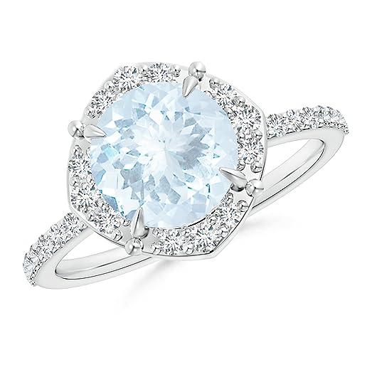 Angara Vintage Diamond Halo Sideways Cushion Citrine Claw Ring La2Pt