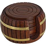 Wooden Round Tea Coasters Set of 6 in Antique Inspired Barrel Holder