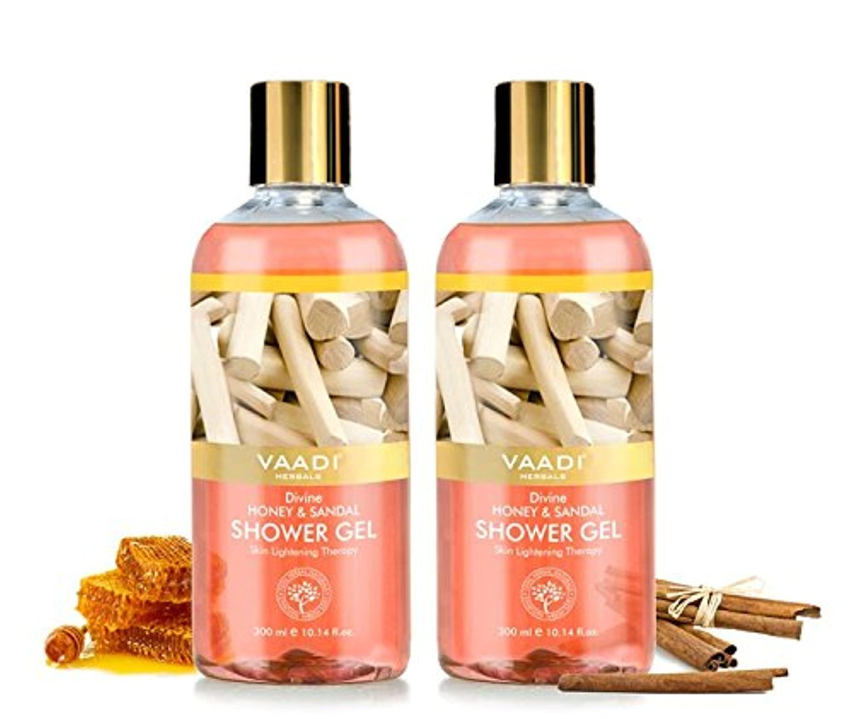 Shower Gel - Sulfate-Free - Herbal Body Wash both for Men and Women - 300 ml (10.14 fl oz) - Vaadi Herbals (Divine Honey & Sandal) (2 Bottles)