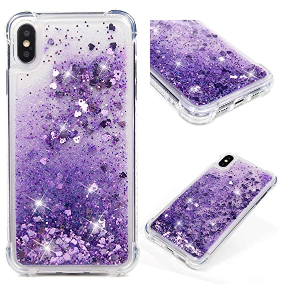 big sale e3d9a 2dba8 iPhone Xs Max Case, Clear Liquid Glitter Case Bling Shiny Sparkle Flowing  Moving Love Hearts Crystal Cover Ultral Slim Protective TPU Bumper ...