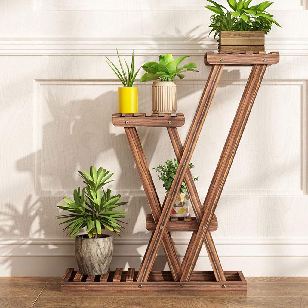 B WAN SAN QIAN- Solid Wood Flower Shelf Indoor Living Room Balcony Flower Pot Rack Multi-Layer Floor Plant Stand Flower racks (color   A)
