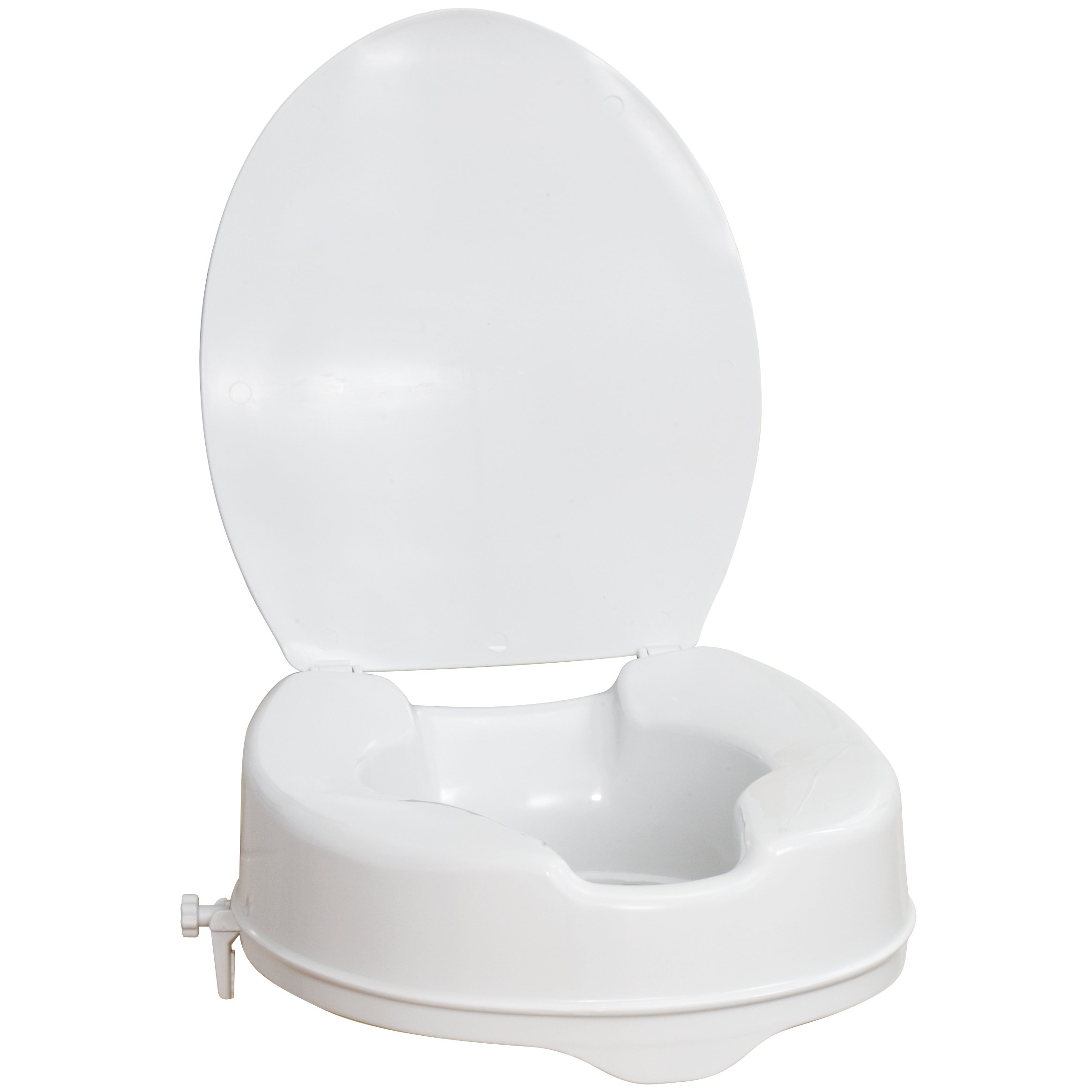 AquaSense Raised Toilet Seat with Lid, White, 4-Inches