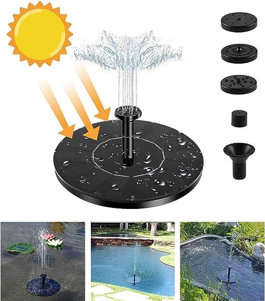 Fuente Solar,Bomba de Agua para Jardín con Bomba de Estanque Solar con Fuente de Panel Solar Monocristalino de 1.4 W, Decoración Flotante para Jardín, Estanque Pequeño, Baño para Pájaros, Pecera: Amazon.es: Jardín
