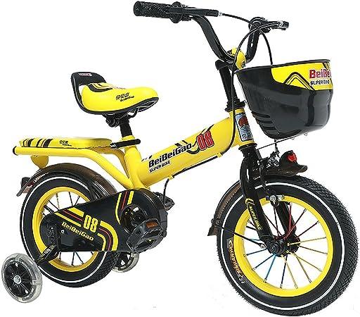 Fenfen Bicicleta para niños 12/14/16 pulgadas Carro de bebé 3-8 años Pedal para niños Bicicleta amarilla (Size : 16 inch yellow): Amazon.es: Hogar