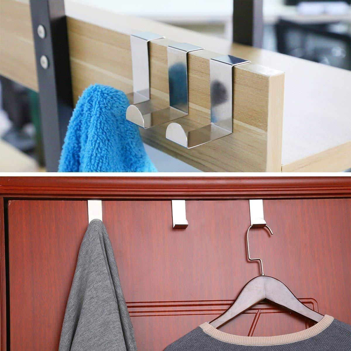 Bathroom Over The Door Hooks Hanging Towel Rack 2 Pack, M Office Storage Organizer 18//8 Stainless Steel Multiple Use Z Shaped Cabinet Door Hooks Use Kitchen Bedroom