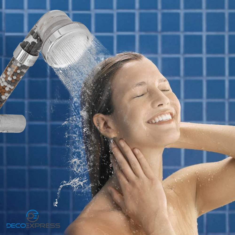High Pressure Ionic Handheld Shower Head with 3-Way Shower Modes - Pressure Booster & Water Saving - Negative Ion Filter that Softens Water and Removes Chlorine – Sealed Gift Box comes with Extra Stainless Steel Plate and Replacement Minera