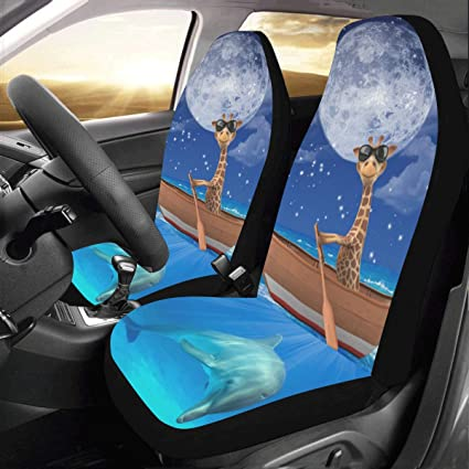 Cool Artsadd Giraffe Dolphin Fabric Car Seat Covers Set Of 2 Best Automobile Seats Protector Alphanode Cool Chair Designs And Ideas Alphanodeonline