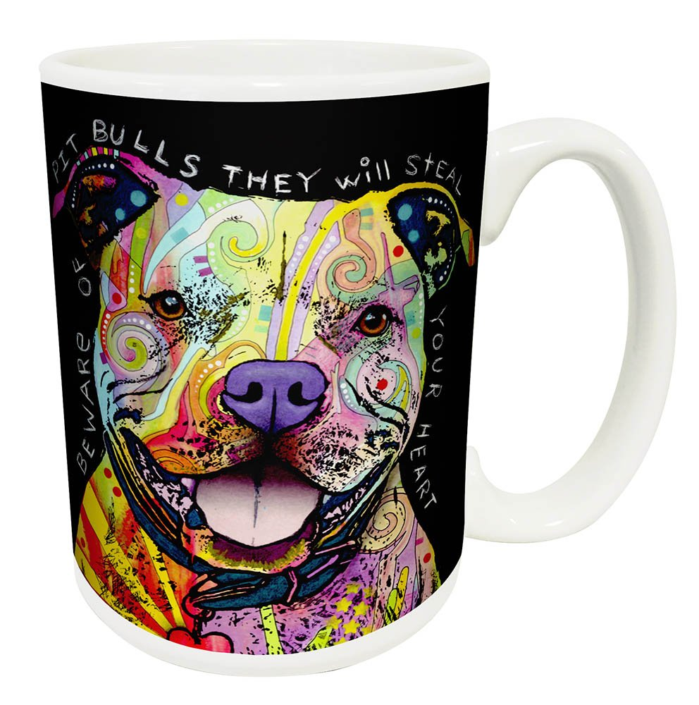 Dean Russo Dog Pit Bulls Steal Your Heart Quote Modern Animal Art Porcelain Gift Coffee (Tea, Cocoa) Mug, 15 Ounce