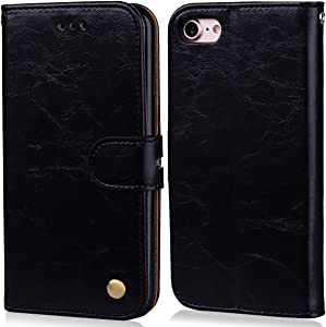 iPhone 8 Protection case, iPhone 7 Wallet case Cover, Luxury PU Leather Case, Magnetic Enhanced flip Cover with Card Slots and Folding Stand for Apple iPhone8, Apple iPhone7, Black