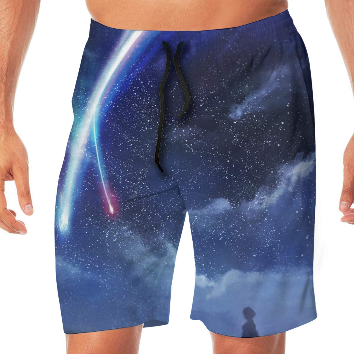 Wengua Quick Drying Beautiful Starry Sky Printed Workout Shorts No Mesh Lining