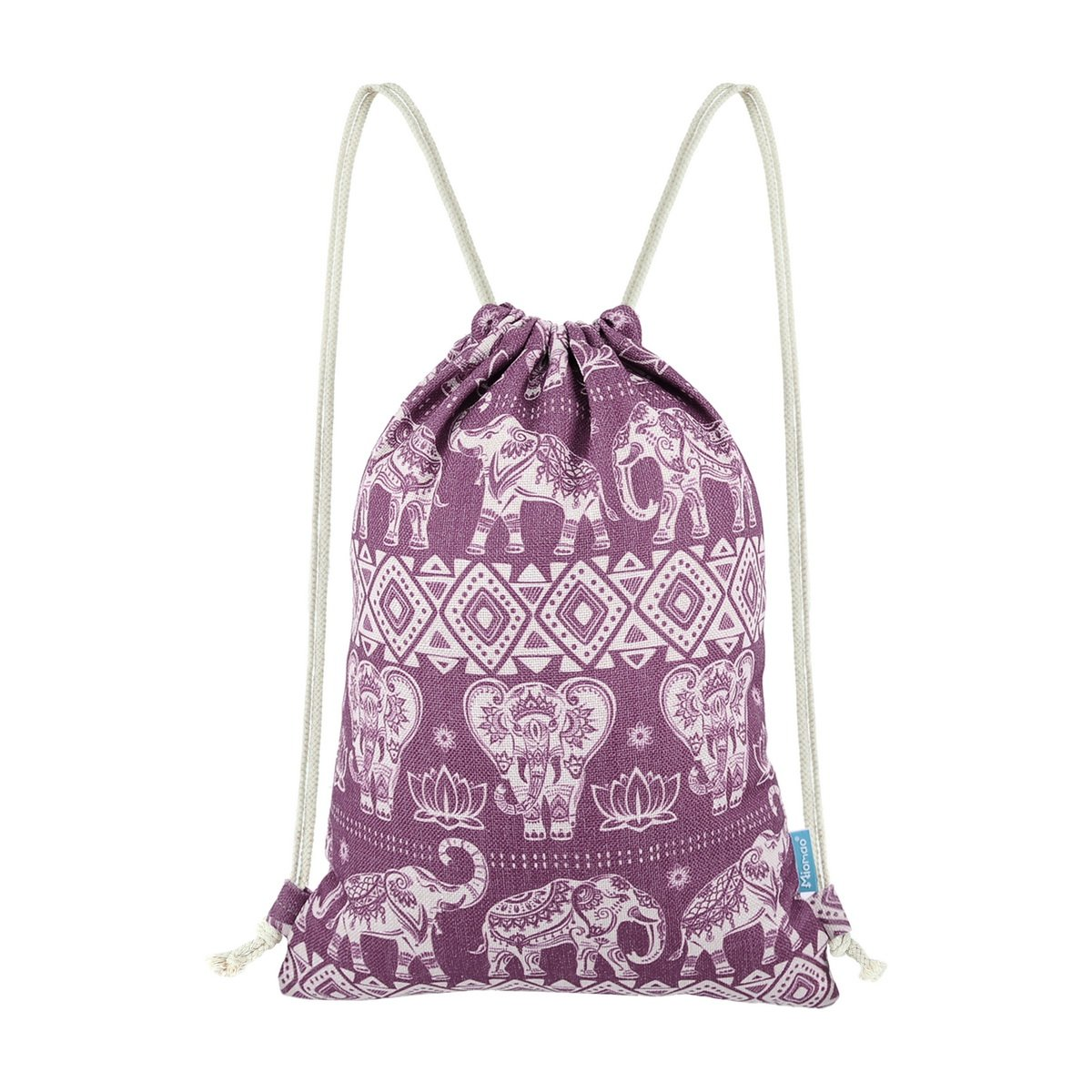 Miomao Gym Sackpack Drawstring Backpack Elephant Cinch Pack Geometric Sinch Sack With Pockets Sport String Bag Yoga Daypack Beach Gift Bag For Man & Women, 13'' X 18'', Lilac Purple
