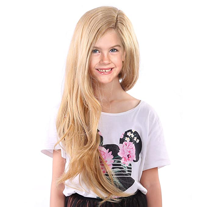 691c3763e11895 Amazon.com: starcourtyard Tangled Rapunzel Wigs for Kids Girls Long Blonde  Princess Children Wig: Clothing