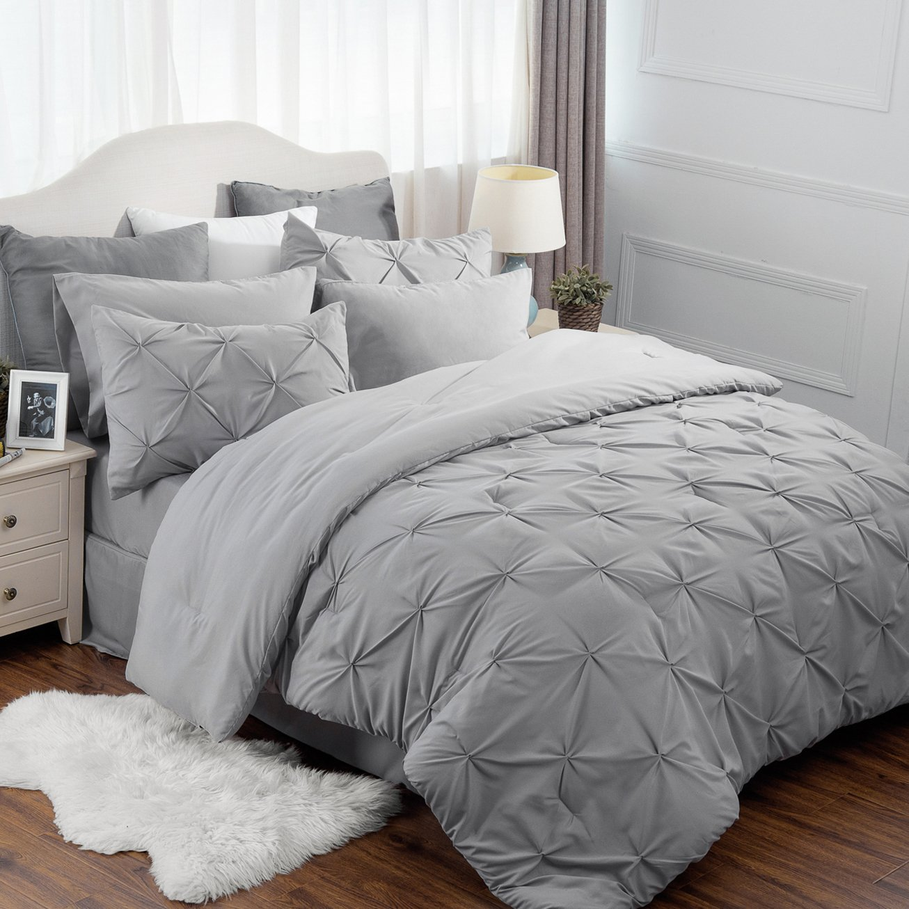 """8 Piece Comforter Set Full Queen Size (88""""X88"""") Solid Grey Pinch Pleat Down Alternative BED IN A BAG"""