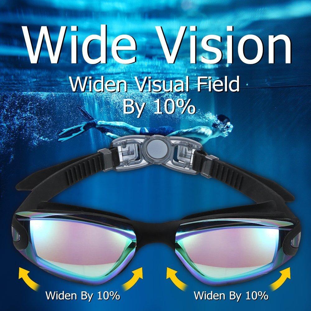 BRIGADA Swimming Goggles Men Women Cool Swimming Goggles Swim Goggle Anti Fog for Adults,Youths - Black