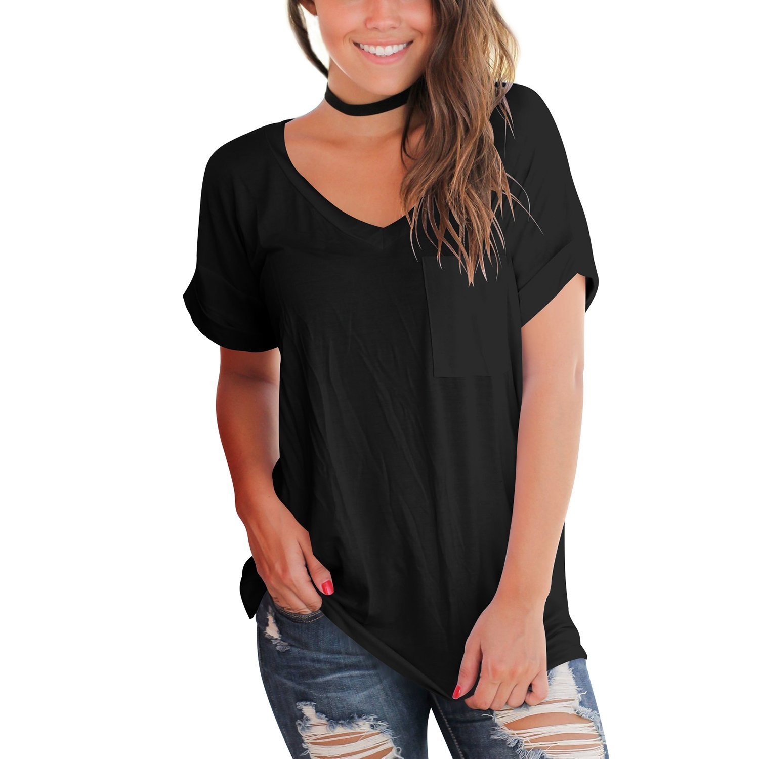 ULATREE Women's Summer Basic Tee V-Neck Casual Loose Fit Short Sleeve Tops with Front Pocket Black 2XL