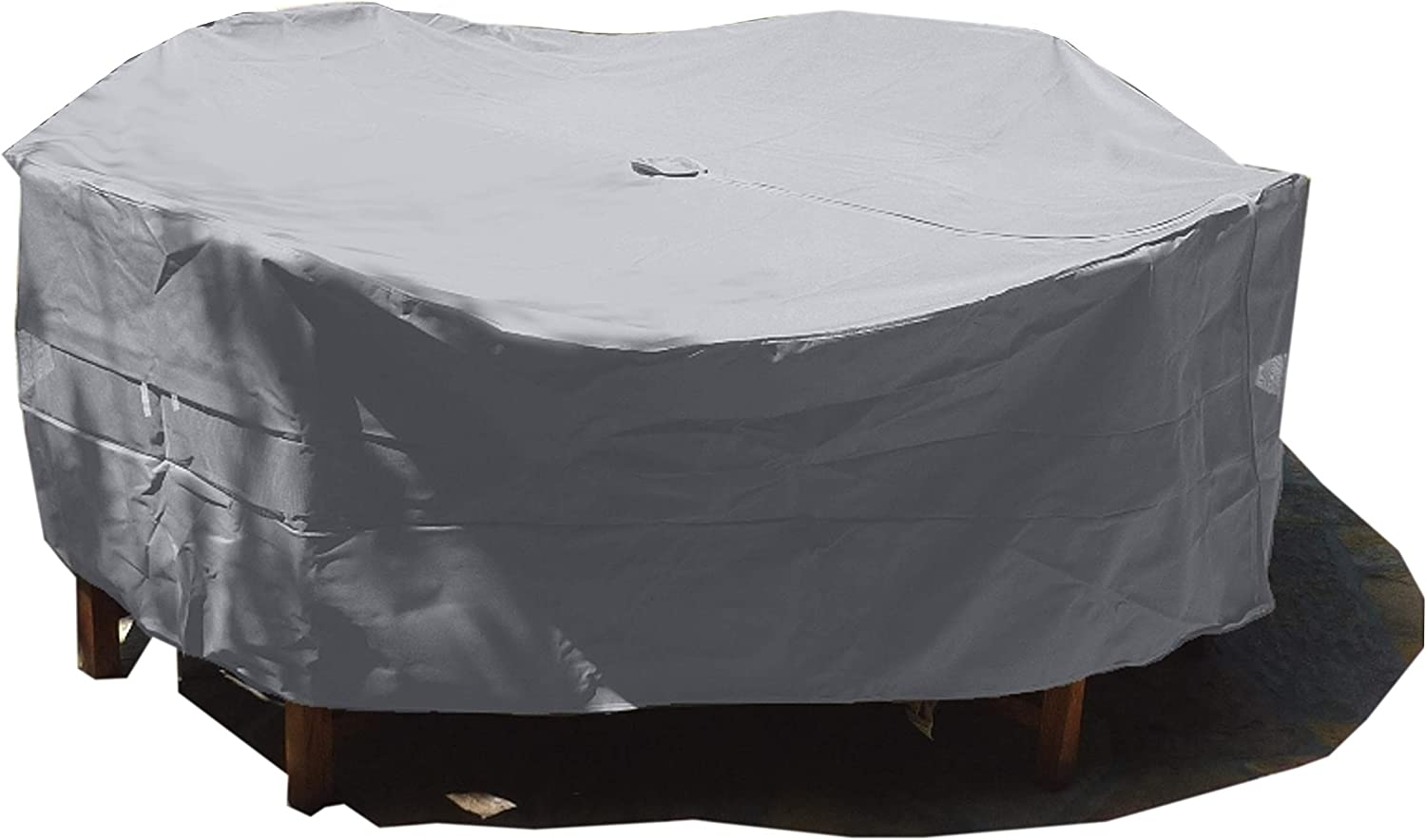 """Premium Tight Weave Fabric Patio Set Cover 104"""" Dia. Fits Square, Oval or Round Table Set, Center Hole for Umbrella in Grey"""