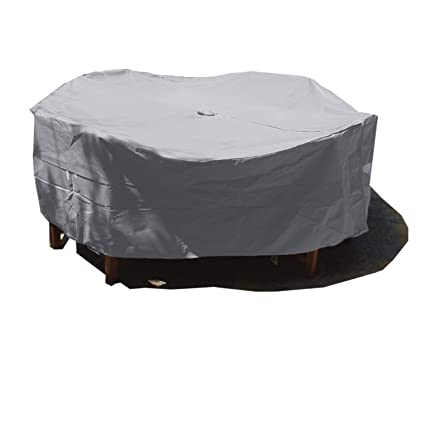 Premium Tight Weave Fabric Patio Set Cover 104Dia. Fits Square, Oval or Round Table Set, Center Hole for Umbrella in Grey