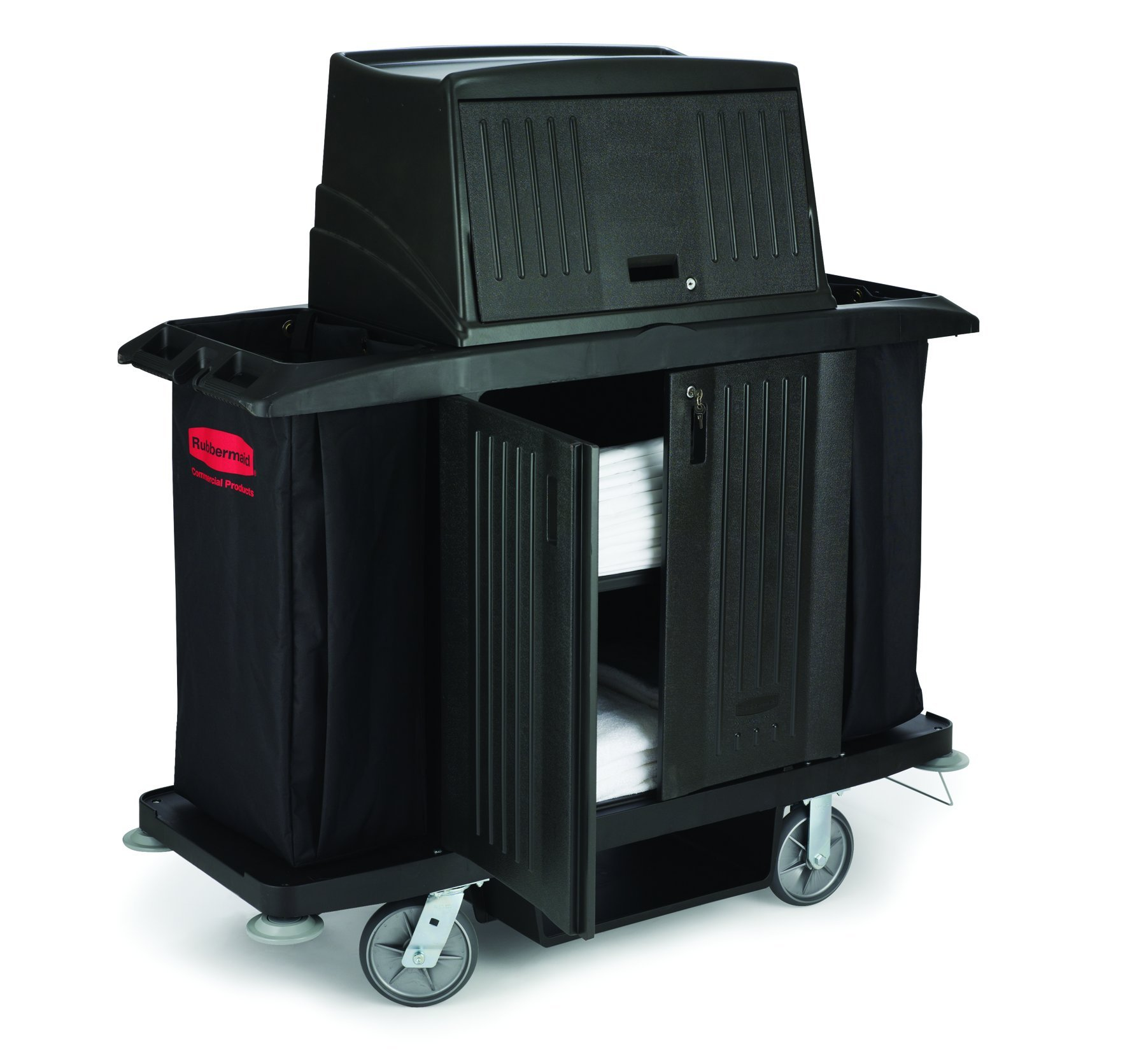 Rubbermaid Commercial Utility Cart with Doors, Black, FG9T1900BLA