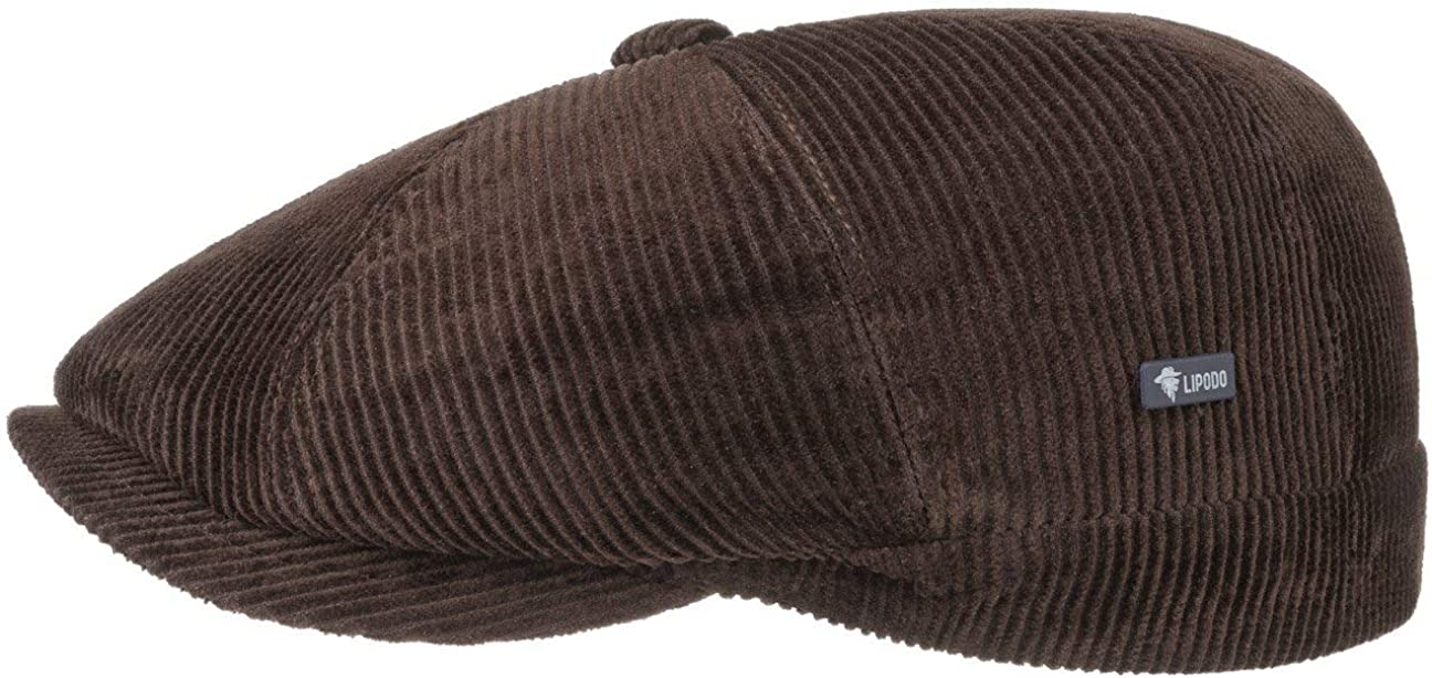 Made in Italy con Visiera Monocromatico Lipodo 8 Panel Cord Coppola da Uomo Berretto Invernale Imbottito Autunno//Inverno in Cotone Stile Regular Fit