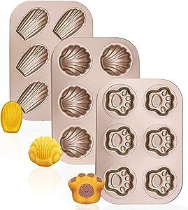 Madeleine Pans, Beasea 3 Pack Madlen Baking Pan Nonstick Cat Claws Shape Baking Pans, Carbon Steel Baking Mold, 6 Cavity Baking Tray Bagels Mold