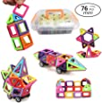 URXTRAL Magnetic Building Blocks, Magnetic Toys Construction Models Building Blocks DIY 3D Magnetic Designer,Parent-child, Creative and Educational Toy Gift for Kids-76Pcs