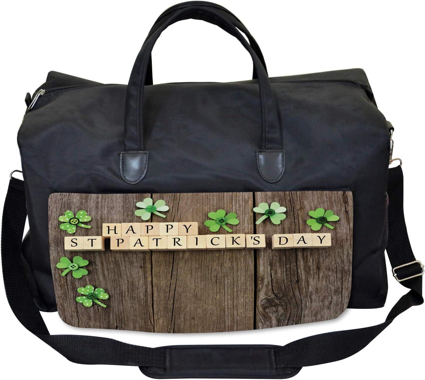 Paper Shamrocks Large Weekender Carry-on Ambesonne Celebration Gym Bag