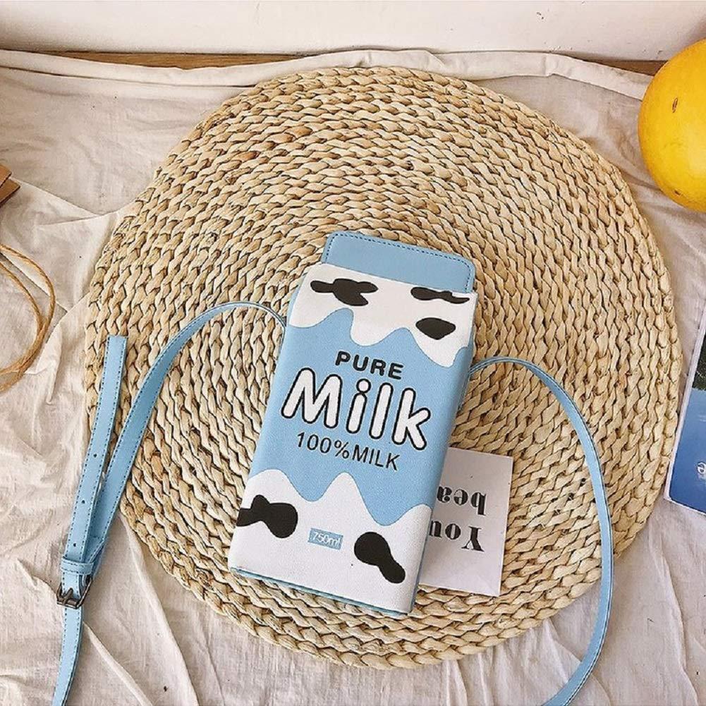 DGYAXIN Kreativa axelväskor PU-läder damväskor, mjölklåda formad med fruktmönster, lämplig för arbete, shopping och fester, 11 x 10 x 25 cm Brun
