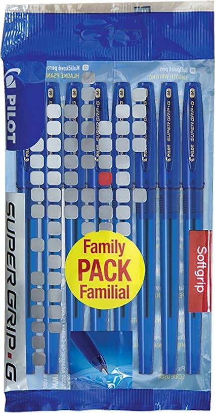 Pilot Supergrip G Set de 8 bolígrafos de punta media azul: Amazon ...