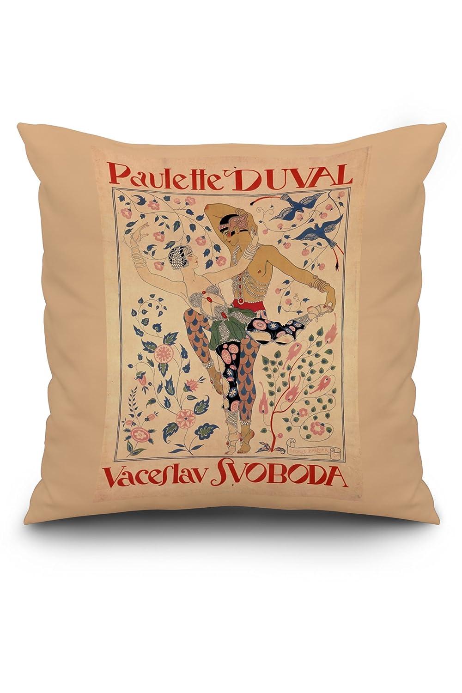 Amazon.com: Paulette Duval - Vaceslav Svoboda Vintage Poster (artist: Barbier) France c. 1929 (20x20 Spun Polyester Pillow, Custom Border): Posters & Prints
