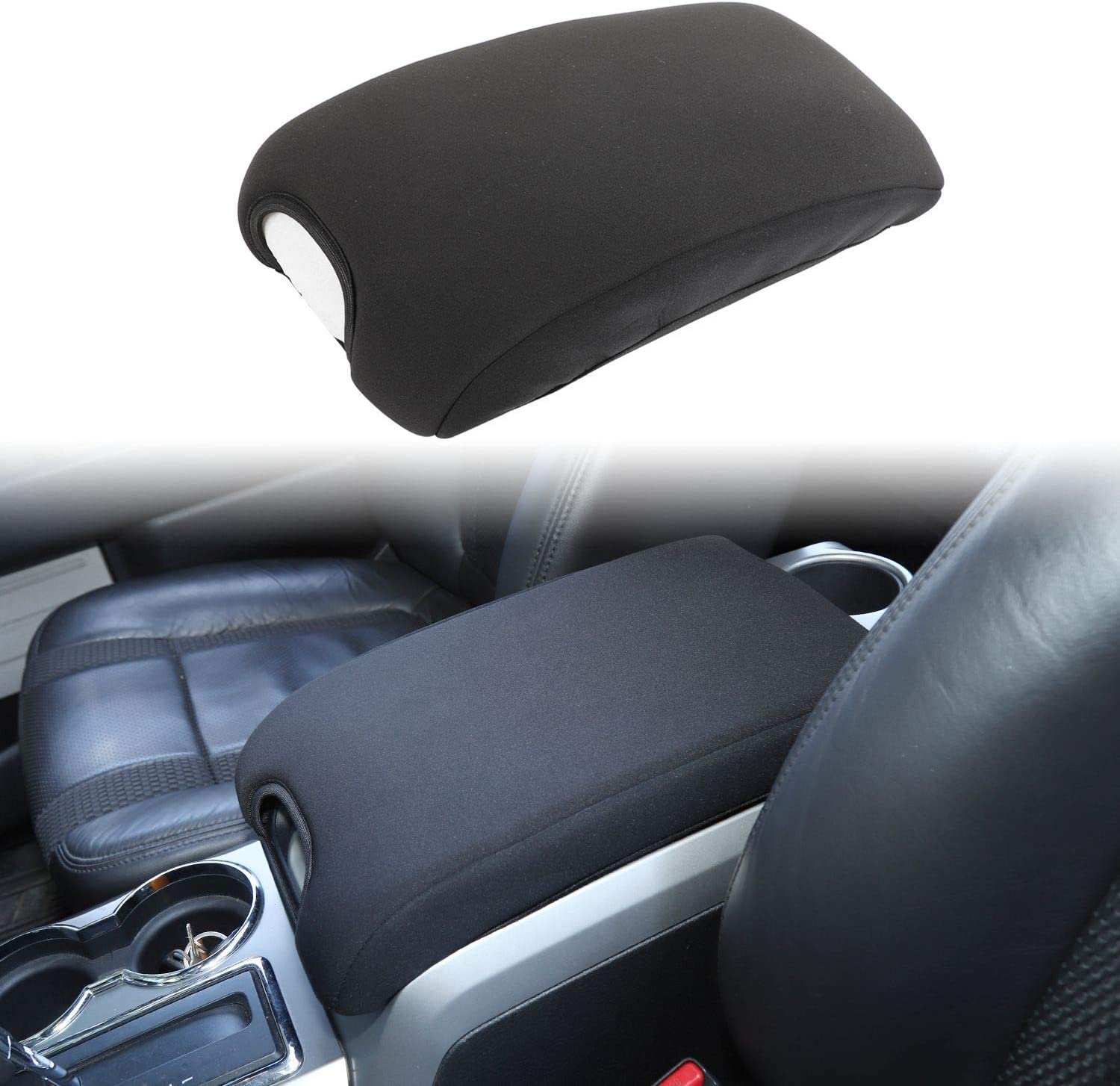 Black 1pc Voodonala for 2009-2014 Ford F150 Center Console Cover Armrest Pad
