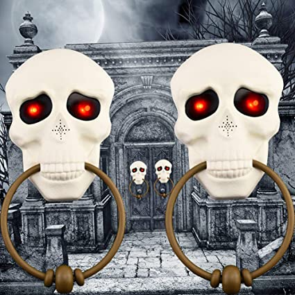 Halloween Skull Decorations.Amazon Com Halloween Skull Doorbell Touch Control Halloween Party Decorations Light Up Talking Doorbell Scary And Haunted Skull With Sounds Led Light Ornament 2 Pack Toys Games