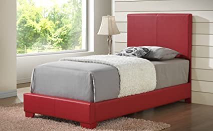 347edcd24061 Red - Full Size - Modern Headboard Leather Look Upholstered Bed 1825