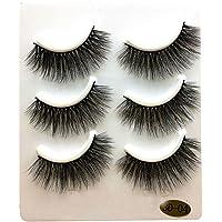 DDLBiz 3 Pairs Long Thick False Eyelashes Makeup Natural Artificial Black Eyelashes (D)