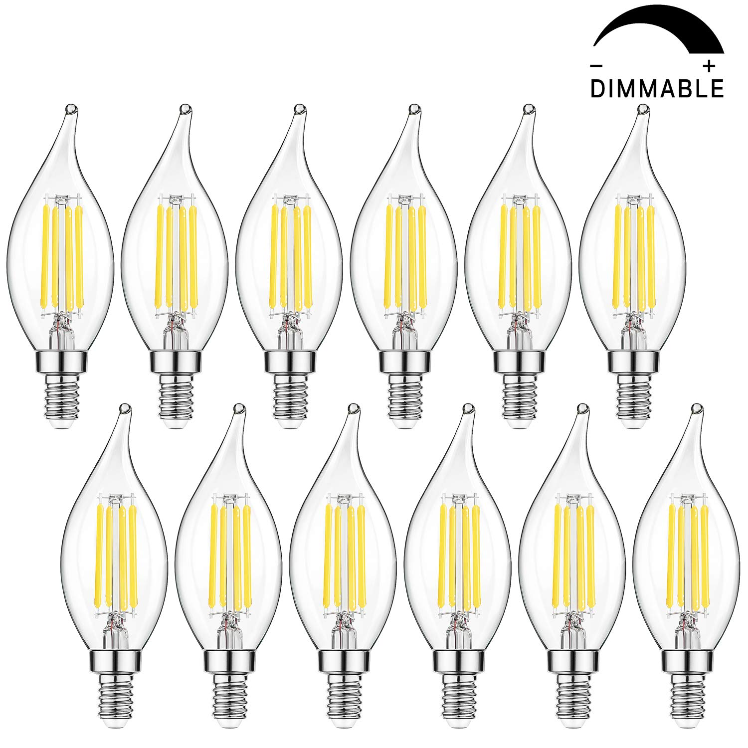 Dimmable E12 Candelabra LED Bulbs 40W Equivalent, Daylight White 5000K Flame Tip LED Chandelier Light Bulbs 4W, CA11 Vintage Filament LED Candle Bulb with Decorative Candelabra Base, 12 Packs