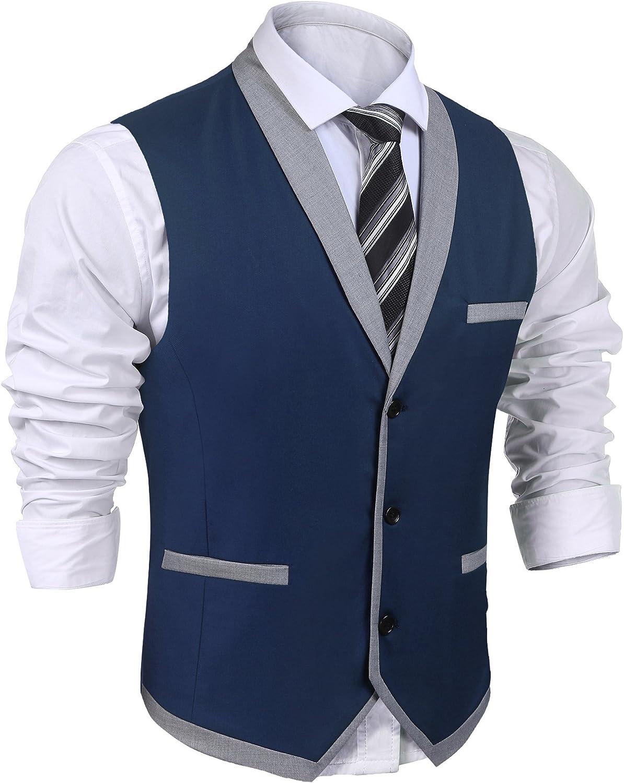 JINIDU Chaleco de solapa formal con bolsillo para boda fiesta para hombre negocios