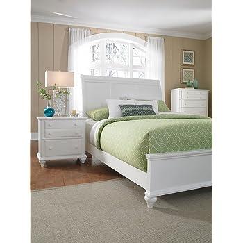 Charming Broyhill Hayden Place White Sleigh Storage Bed, Queen