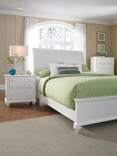. Amazon com  Broyhill Hayden Place White Sleigh Storage Bed  Queen