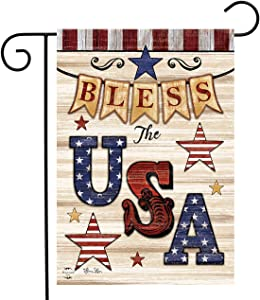 Briarwood Lane Bless The USA Patriotic Garden Flag Primitive Stars Double-Sided 12.5