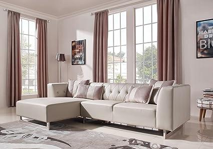 Amazon.com: Divani Casa Carolina Modern Leatherette & Fabric ...