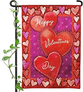 Cokosoxo Happy Valentine's Day Garden Flag Spring Love Heart Double Sided Burlap Small Yard Flags for Outside Home House Lawn Patio Outdoor Holiday Decorations 12x18 Inch