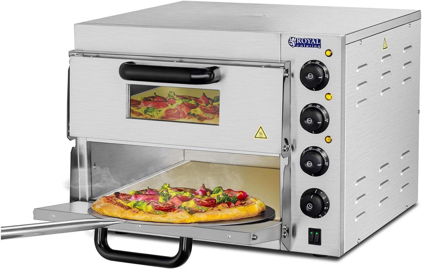 Royal Catering - RCPO-3000-2PS-1 - Horno para Pizza - 2 compartimientos - Arcilla refractaria 40x40x1,5cm