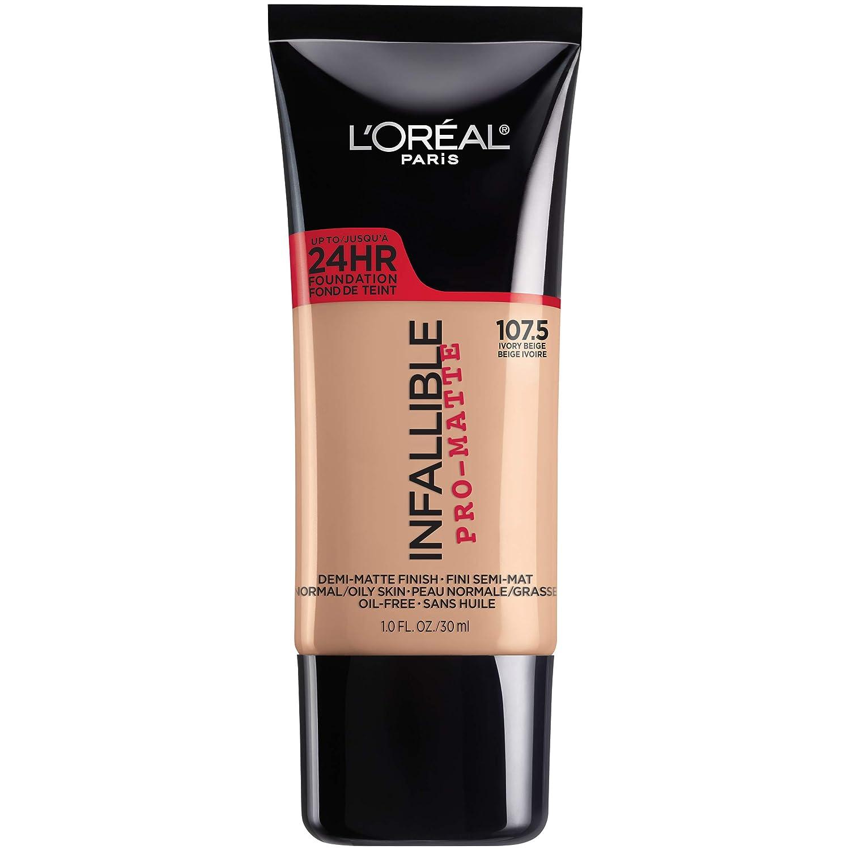 L'Oreal Paris Cosmetics Makeup Infallible Pro-Matte Liquid Longwear Foundation, Ivory Beige 107.5, 1 fl. oz, 107.5 Ivory Beige